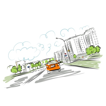 市内道路上の車
