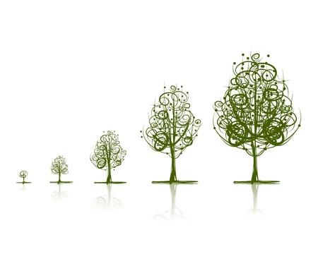 Stadia van het groeiende bomen Stock Illustratie