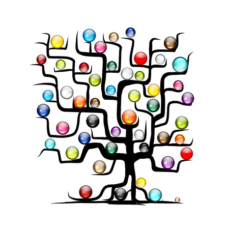 Abstract tree with glossy balls for your design Vector