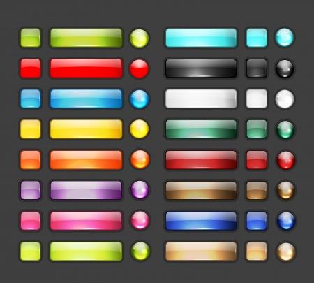 디자인에 광택있는 버튼 아이콘의 집합