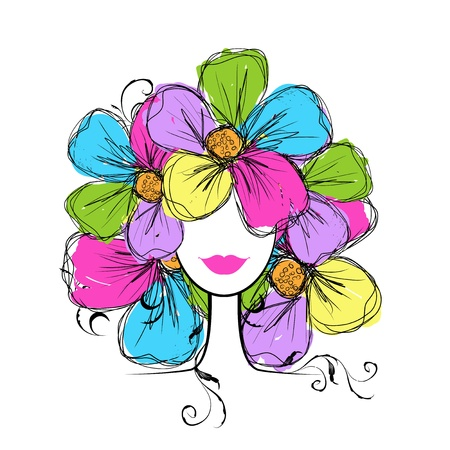 Woman head with floral hairstyle for your design Ilustração