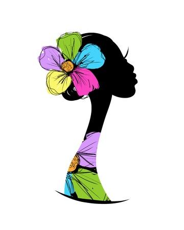 Silueta de cabeza femenina para su diseño