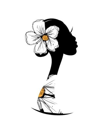 Weiblicher Kopf Silhouette für Ihr Design Standard-Bild - 20925986