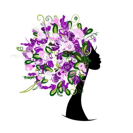 Frauenkopf mit Blumen-Frisur f?r Ihr Design