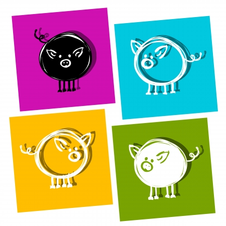 Cute piggy for your design Vector