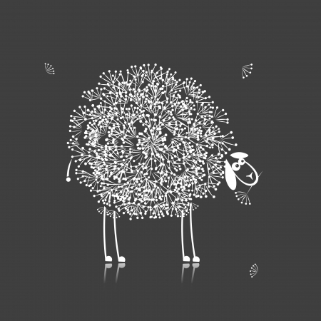 Funny sheep, sketch for your design Vector