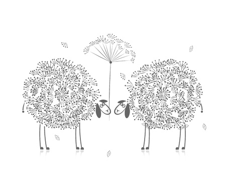 Two funny sheeps, sketch for your design Vector