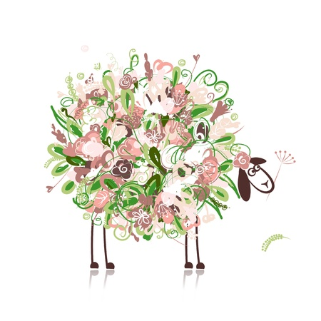 Cute sheep, floral style for your design Vector