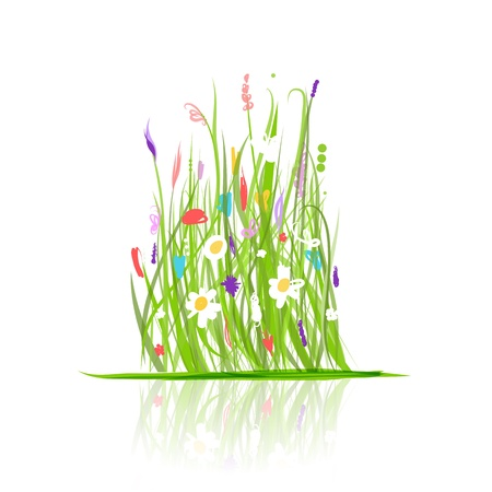 Green meadow for your design Vector