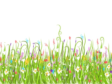 Green meadow, seamless pattern for your design Stock Vector - 20926074