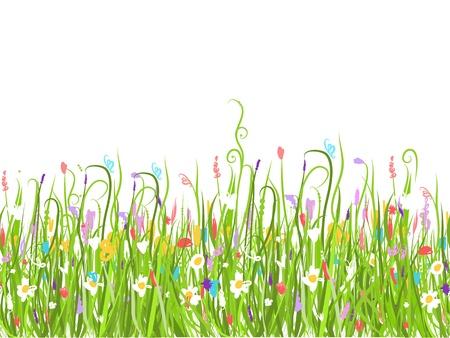 Groene weide, naadloze patroon voor uw ontwerp
