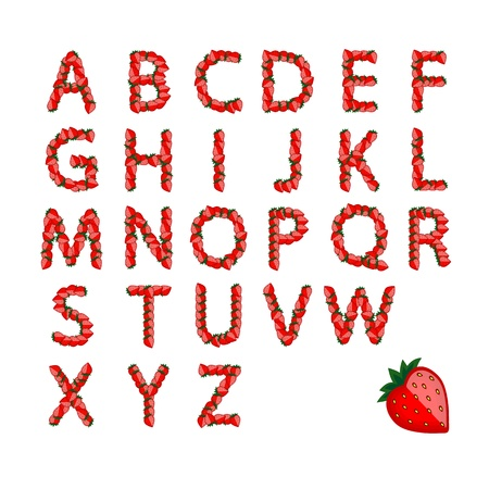 Alphabet set made from strawberry for your design Vector