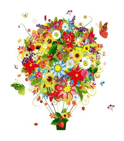mazzo di fiori: Quattro concept stagione, mongolfiera per il vostro disegno Vettoriali