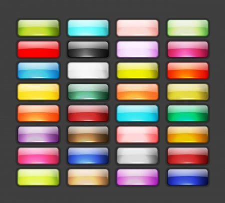 rectangle button: Set of glossy button icons for your design Illustration