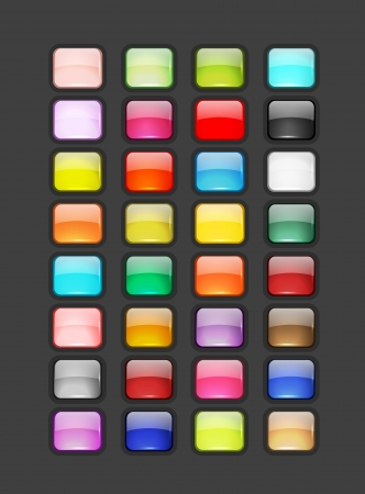 aqua icon: Set of glossy button icons for your design Illustration