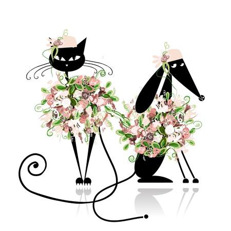 mujer con perro: Gato y perro Glamor en ropa florales para su dise�o Vectores