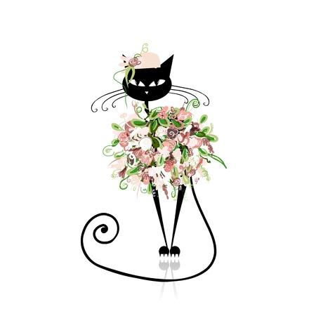 dessin au trait: chat de charme dans les v�tements floraux pour votre conception