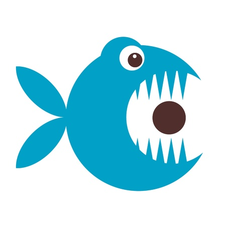 big mouth: Funny fish cartoon for your design Illustration