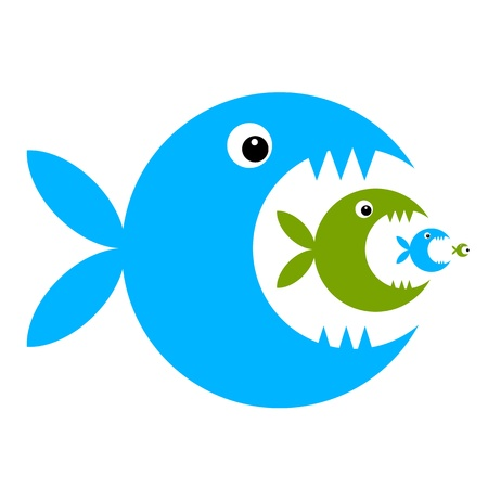 attacks: Funny fish cartoon for your design Illustration