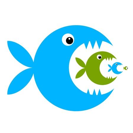 bites: Funny fish cartoon for your design Illustration