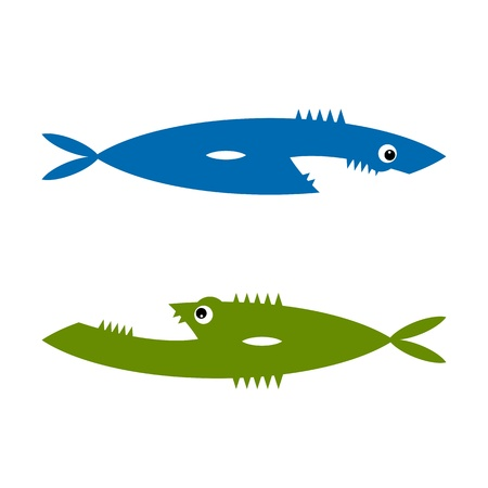 killer waves: Funny fish cartoon for your design Illustration
