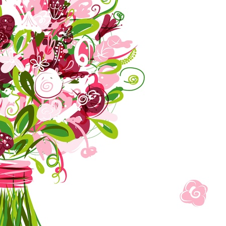 cartoon bouquet: Floral postcard with place for your text