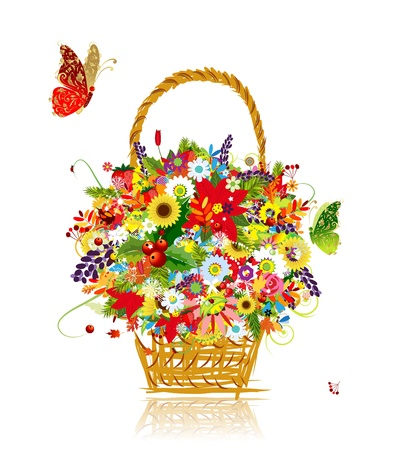 Four seasons. Basket with leaf and flowers for your design Stock Vector - 21319911