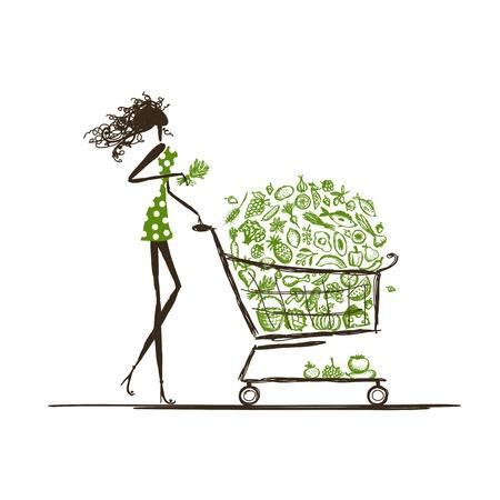 canasta de frutas: Compras de la mujer con el carro de la comida en el supermercado