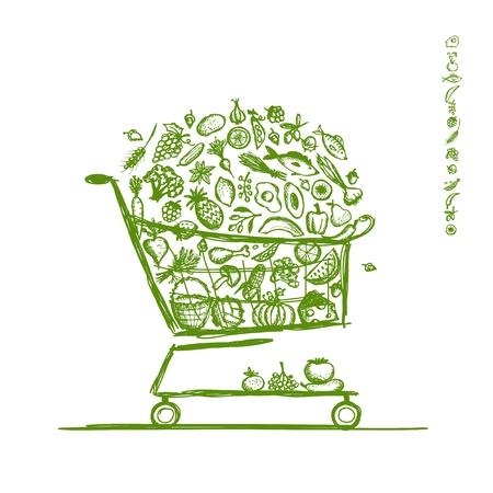 carro supermercado: Cesta de la compra con alimentos saludables para su diseño Vectores