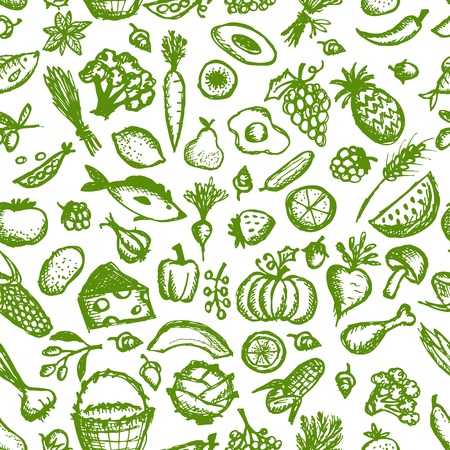 Healthy food seamless pattern, sketch for your design Vector