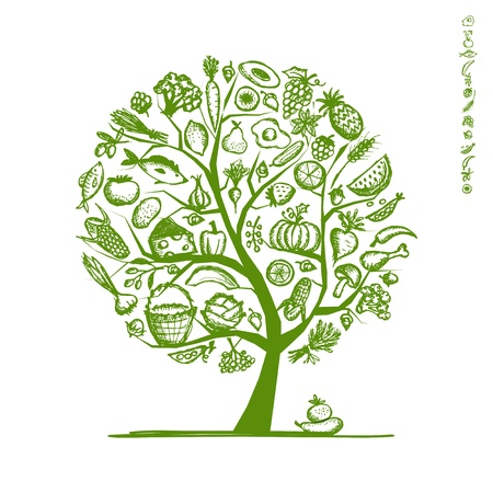 Healthy food tree, sketch for your design Vector