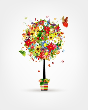 Four seasons concept. Art tree in pot for your design Vector