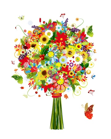 Four seasons bouquet with leaf and flowers for your design Vector
