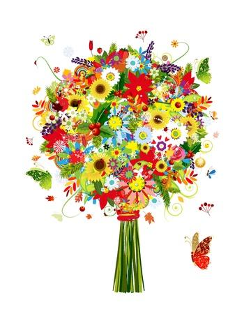 buisson: Quatre saisons bouquet avec des feuilles et des fleurs pour votre conception Illustration