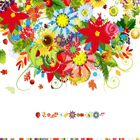 Four seasons. Postcard cover for your design Stock Vector - 21319934