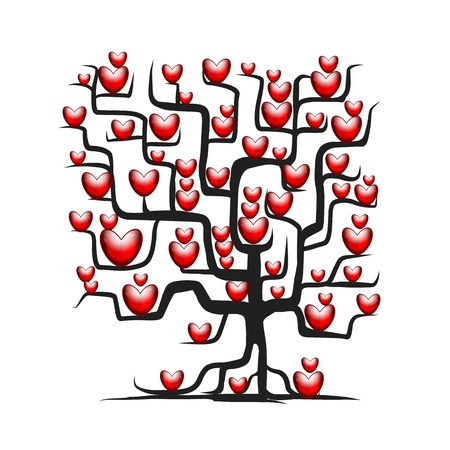 red leaves: Love tree with red hearts for your design Illustration