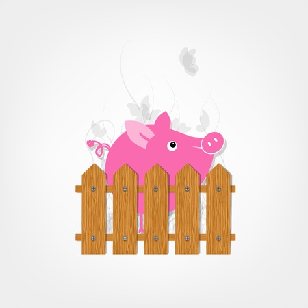 Funny pig in the garden behind wooden fence for your design Vector