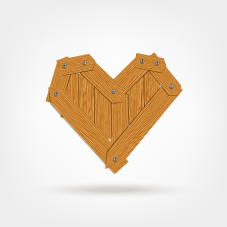 Heart shape made from wooden boards for your design Vector