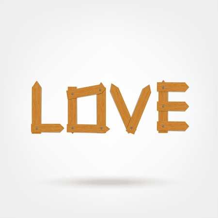 Love word made from wooden boards for your design Stock Vector - 21319955