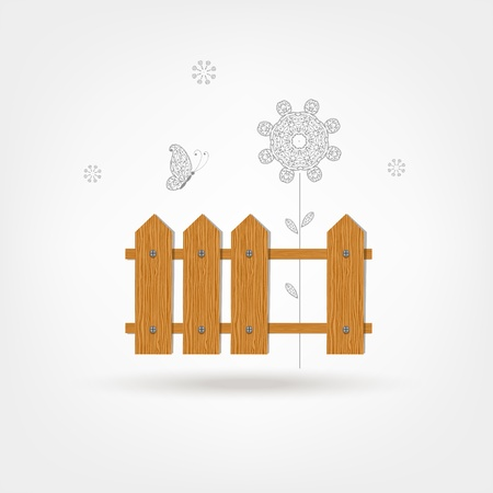 Wooden fence for your design Vector