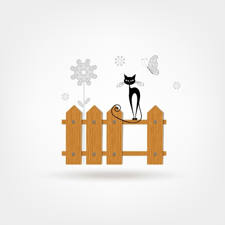 Black cat on wooden fence for your design Vector