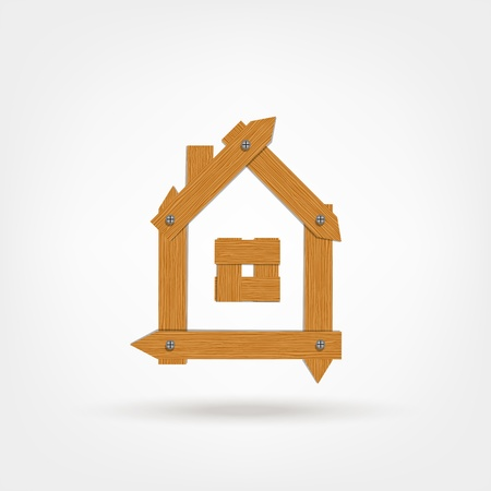 House made from wooden boards for your design Vector