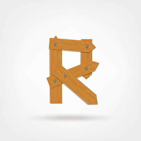 Letter made from wooden boards for your design Stock Vector - 21599631