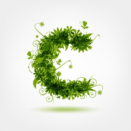 Green eco letter C for your design Vector