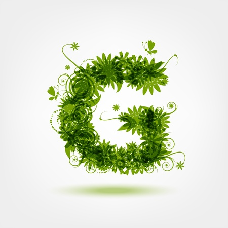 g: Green eco letter G for your design
