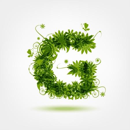 letter g: Green eco letter G for your design