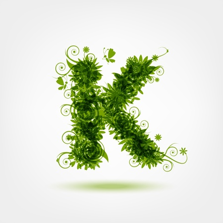 letter k: Green eco letter K for your design