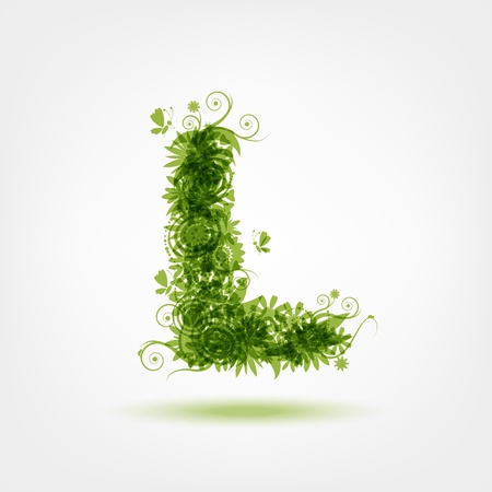 l: Green eco letter L for your design Illustration