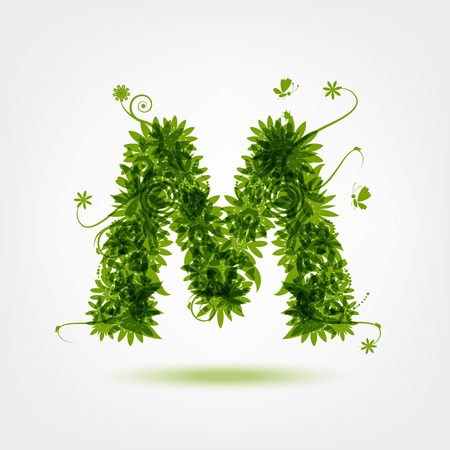 Green eco letter M for your design