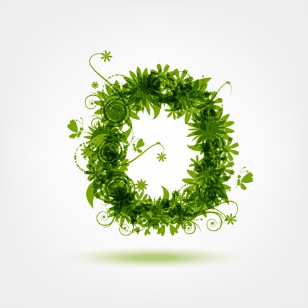 Green eco letter O for your design Vector